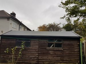 Garage with asbestos removed